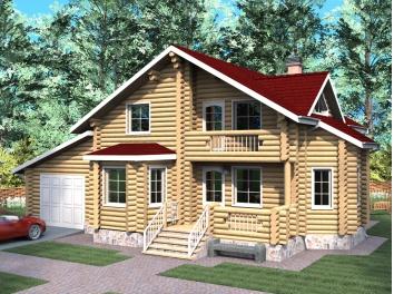 Типовые проекты домов из оцилиндрованного бревна
