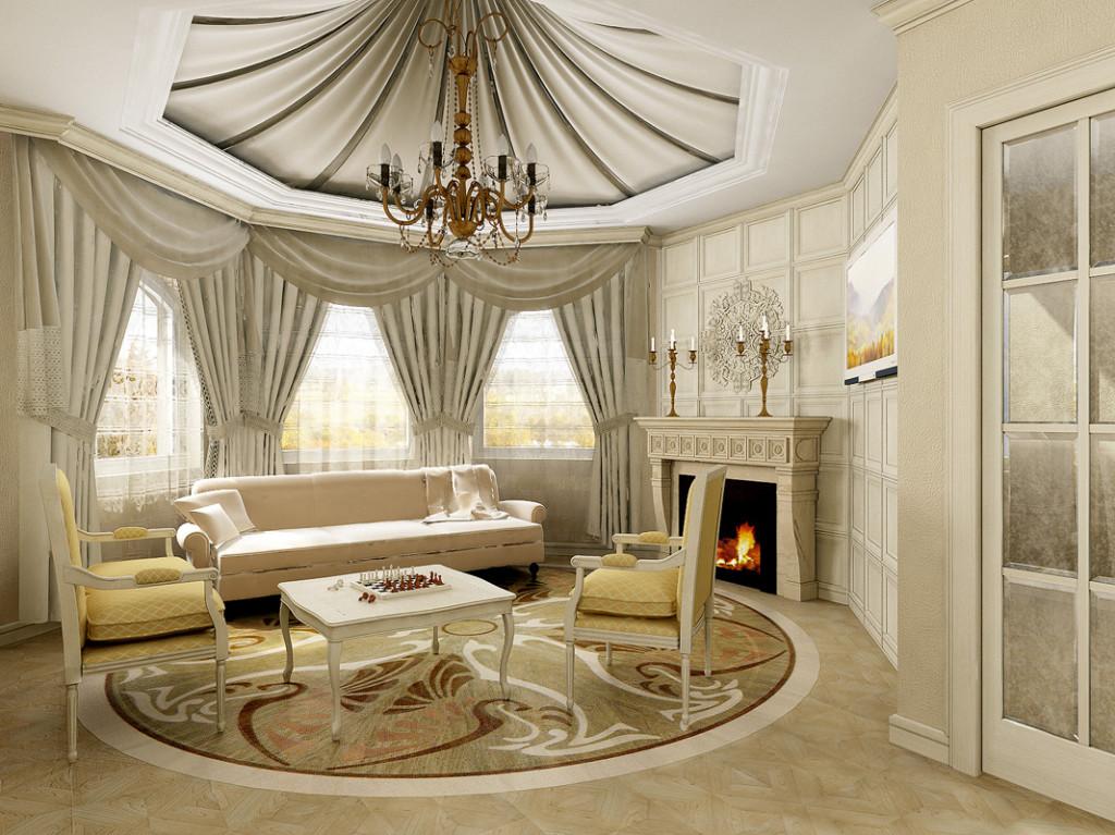 дизайн гостиной потолки гипсокартон