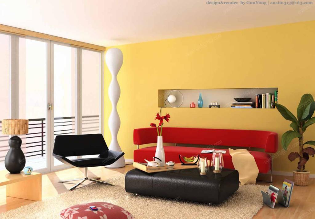 дизайн интерьера желтые стены