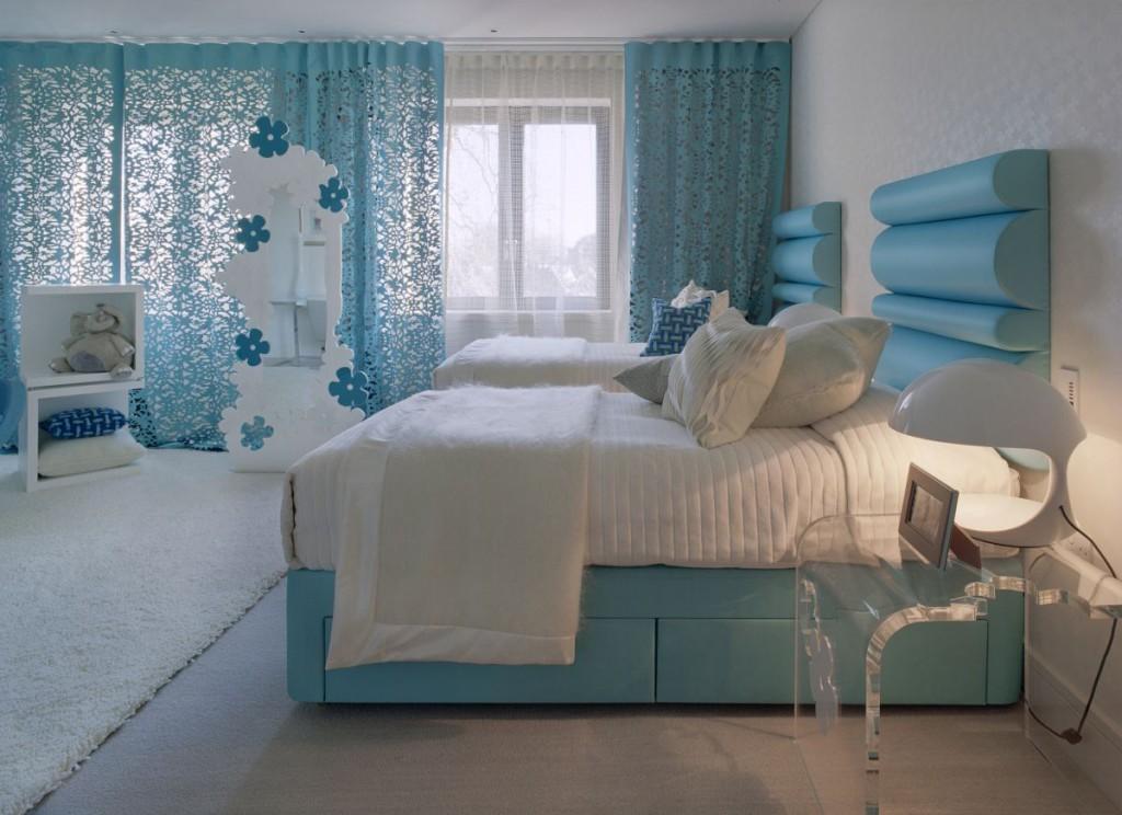 дизайн спальни голубой