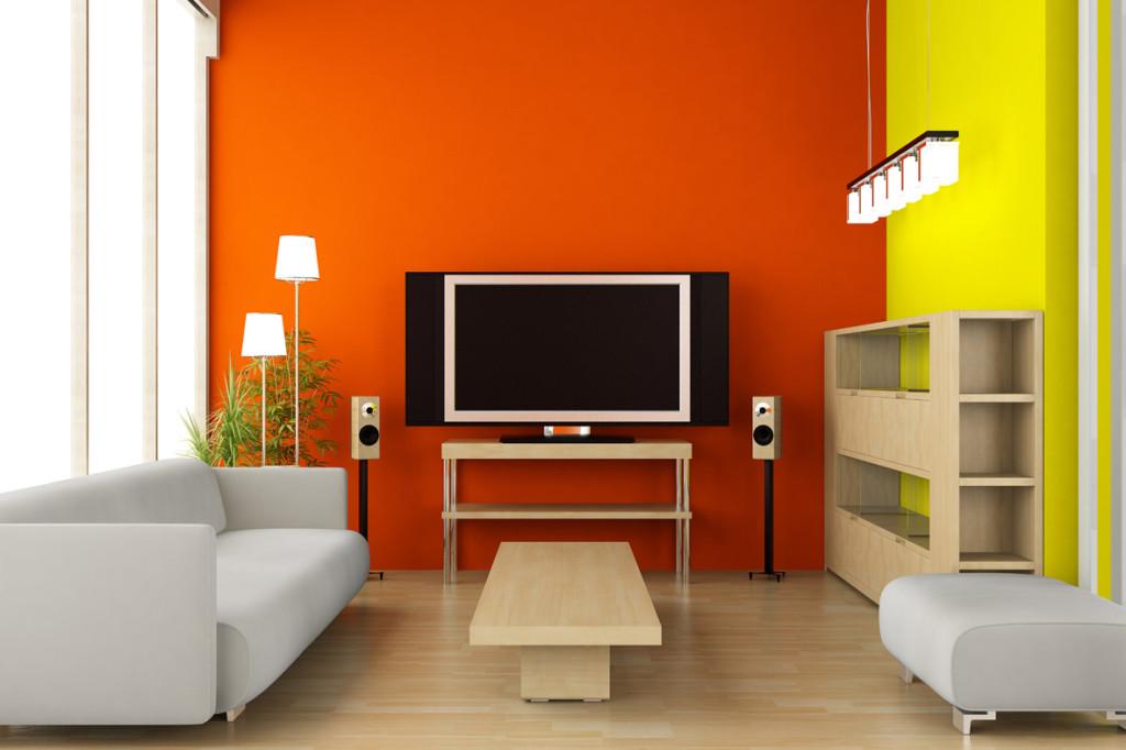 дизайн гостиной оранжевый