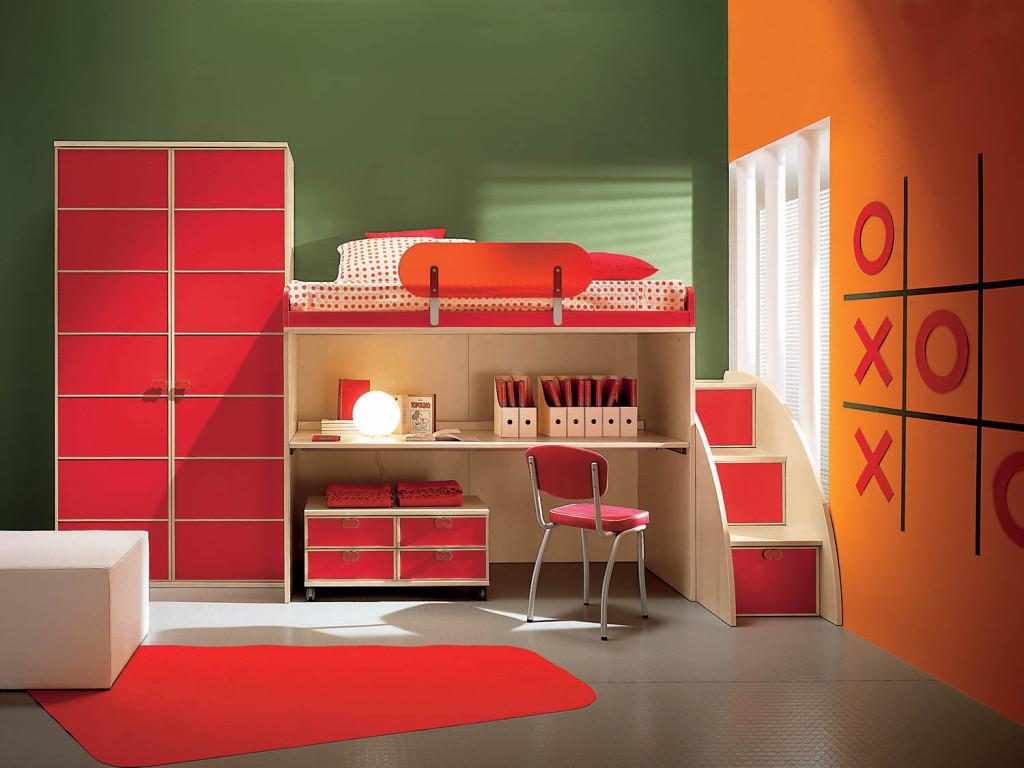 дизайн детской красный