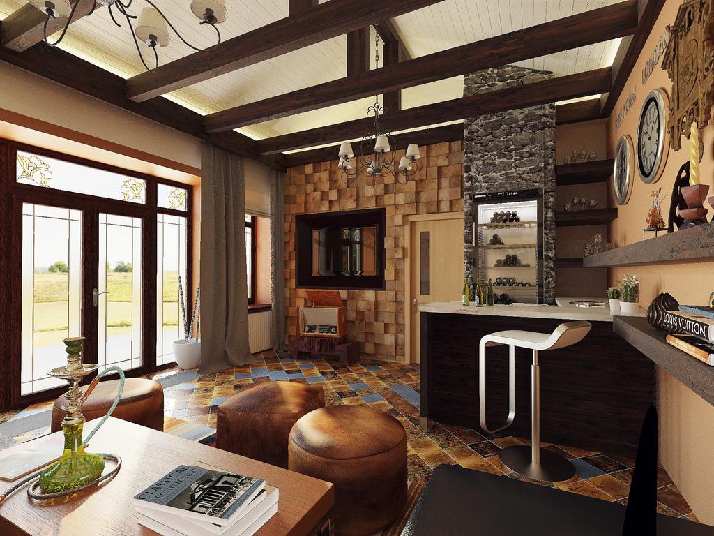 интерьер дома в стиле кантри