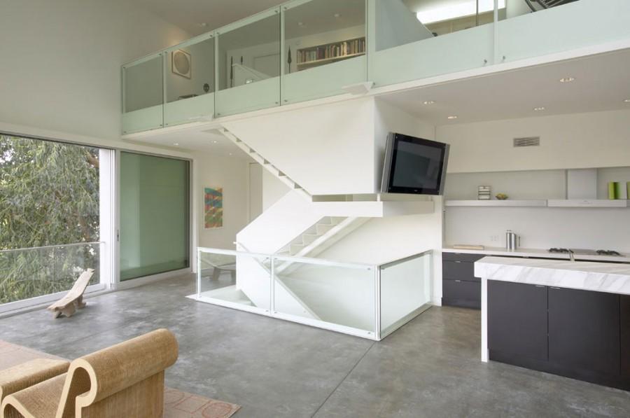 интерьер гостиной зонирование стеклянные перегородки
