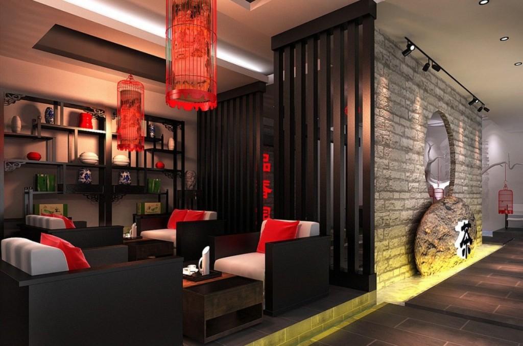 интерьер китайский красные фонари
