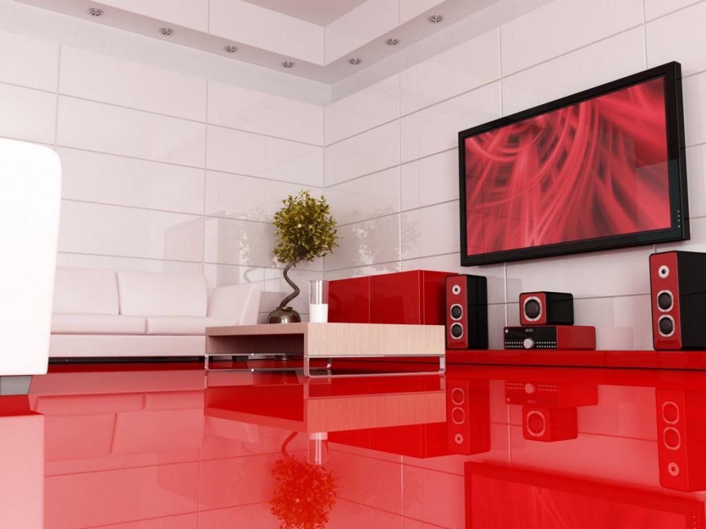 интерьер красно белый