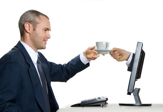 деловой человек с чашкой кофе