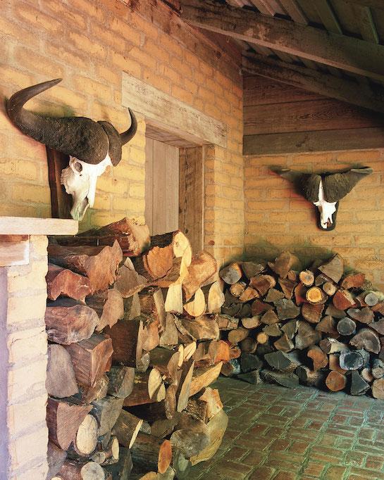каминная комната с головами баранов