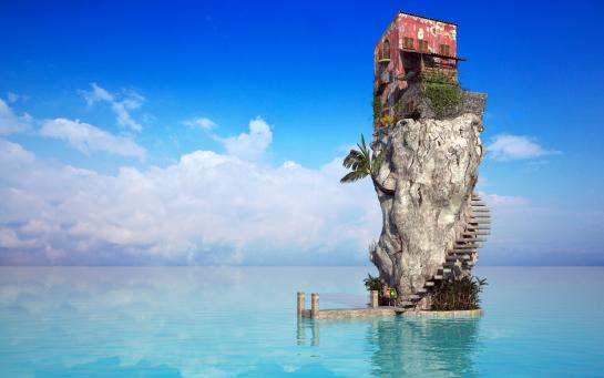 каменный дом на воде